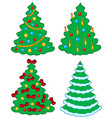 various christmas trees vector image
