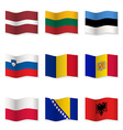 Waving flags of different countries 8 vector image vector image