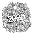 2020 doodles new year objects and vector image vector image
