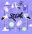 baby shower card template with cute stork vector image vector image