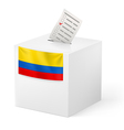 Ballot box with voting paper Colombia vector image vector image