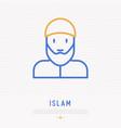 bearded arabic man in muslim hat vector image vector image