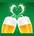 beer glass with foam creating heart shape vector image vector image