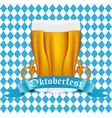 beer with pretzel at festival oktoberfest vector image vector image