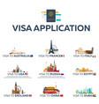 big set visa to the country australia france vector image