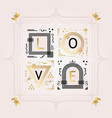 black and golden abstract word love frame emblems vector image vector image