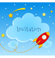 Blue invitation card with clouds and spaceship vector image