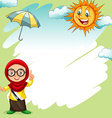 Border design with girl and sunny vector image vector image