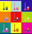 broom and bucket sign pop-art style vector image vector image