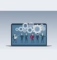 business people group under cog wheel work vector image