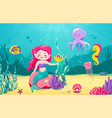 cartoon mermaid background with fish rocks coral vector image vector image