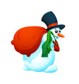 cartoon snowman in a hat and with a bag of gifts vector image