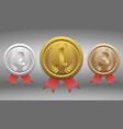champion gold silver and bronze award vector image vector image