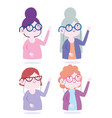 characters women with glasses avatar female icons vector image