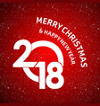 christmas card with red snowy background vector image vector image