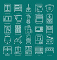 commercial kitchen equipment icon set in line vector image vector image