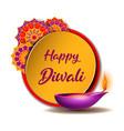 congratulation banner with burning diya and yellow vector image vector image