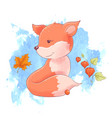 cute cartoon fox and mouse autumn leaves vector image