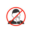 do not touch your face man avatar icon vector image vector image