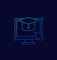 e-learning online education linear icon vector image vector image