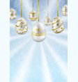 easter eggs on blue sky with bokeh effect greeting vector image vector image