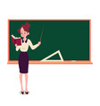 female teacher stands at blackboard holding book vector image