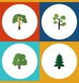 flat icon bio set of park wood decoration tree vector image vector image