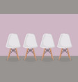 four white modern chair vector image