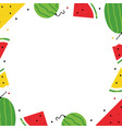 frame card template with watermelon slices vector image vector image