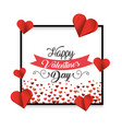 frame with hearts decoration to valentine day vector image