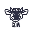 Funny front view cow head logo template vector image vector image