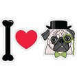 I love pugs with monocle tie bow and hat vector image vector image