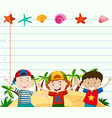 line paper template with cute boys vector image vector image