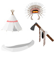 Native american set white vector image