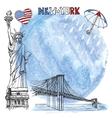 New York landmarkWatrcolor splashreinumbrella vector image