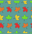 pattern with cute maple leaves on blue background vector image vector image