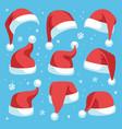 santa hats red christmas hat design set vector image vector image