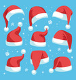 santa hats red christmas santa hat design set vector image