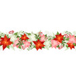 seamless christmas border with poinsettias holly vector image vector image