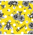 Seamless pattern with bees and flowers vector image vector image
