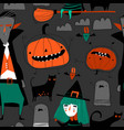 seamless pattern with halloween characters on gray vector image vector image