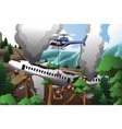 search and rescue for airplane crash vector image