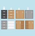 set of cabinet in flat style and vase vector image