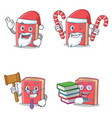 set of red book character with santa candy judge vector image vector image
