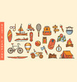 set summer recreation and camping icons vector image