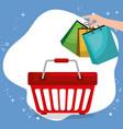 shopping basket with marketing set icons vector image