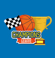 sport trophy cup champions with basket ball vector image