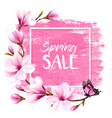 spring sale background with pink blooming vector image vector image
