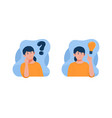 thinking with question mark and light bulb icons vector image vector image