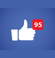 thumbs up like social network icon vector image vector image